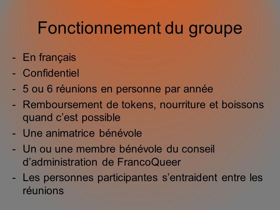 Fonctionnement du groupe -En français -Confidentiel -5 ou 6 réunions en personne par année -Remboursement de tokens, nourriture et boissons quand cest possible -Une animatrice bénévole -Un ou une membre bénévole du conseil dadministration de FrancoQueer -Les personnes participantes sentraident entre les réunions