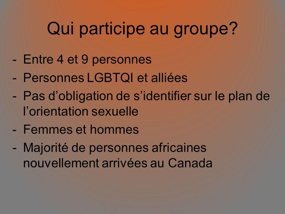 Qui participe au groupe? -Entre 4 et 9 personnes -Personnes LGBTQI et alliées -Pas dobligation de sidentifier sur le plan de lorientation sexuelle -Fe