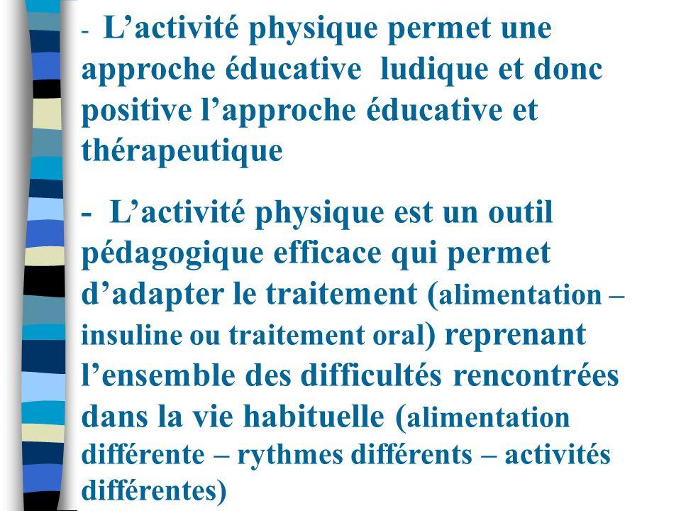 - Lactivité physique permet une approche éducative ludique et donc positive lapproche éducative et thérapeutique - Lactivité physique est un outil péd