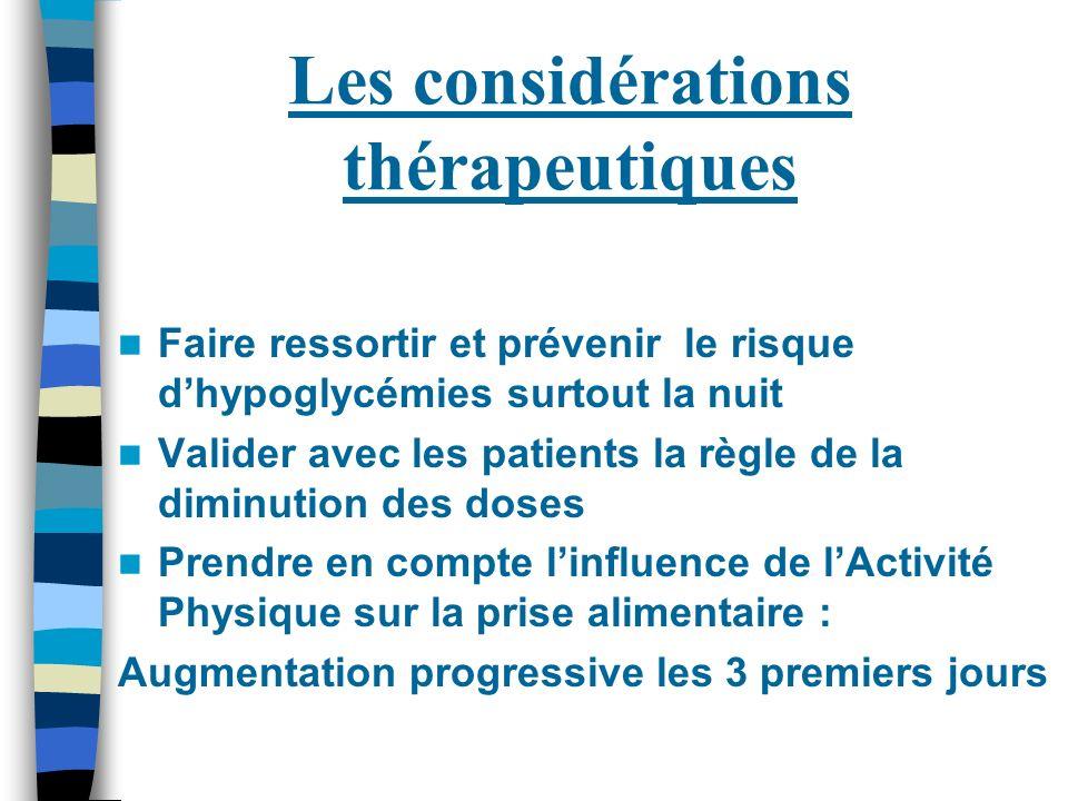Les considérations thérapeutiques Faire ressortir et prévenir le risque dhypoglycémies surtout la nuit Valider avec les patients la règle de la diminu