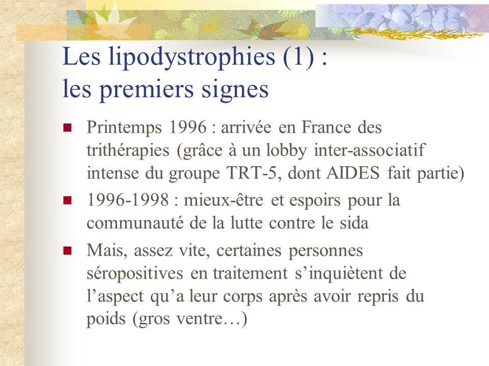 Les lipodystrophies (1) : les premiers signes Printemps 1996 : arrivée en France des trithérapies (grâce à un lobby inter-associatif intense du groupe