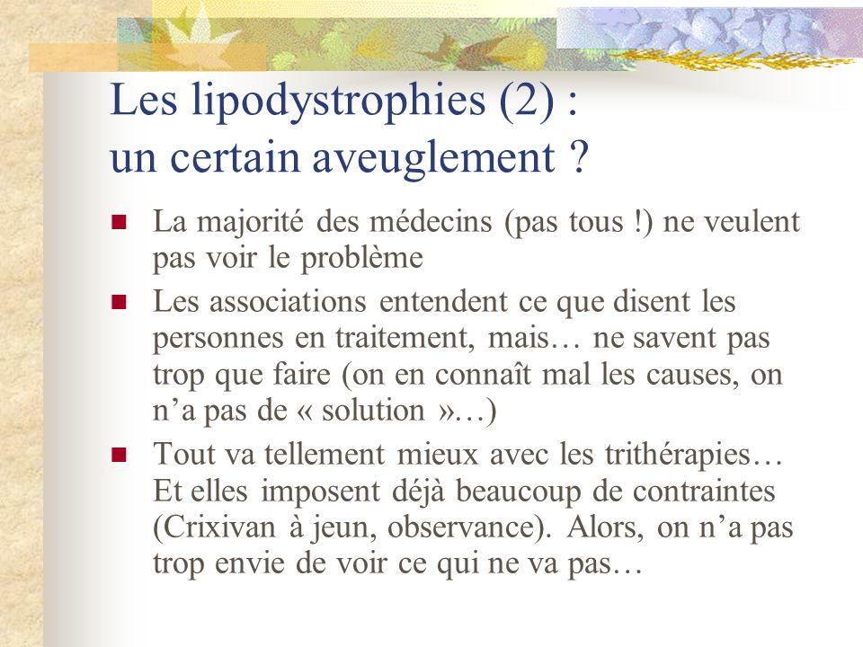 Les lipodystrophies (2) : un certain aveuglement ? La majorité des médecins (pas tous !) ne veulent pas voir le problème Les associations entendent ce