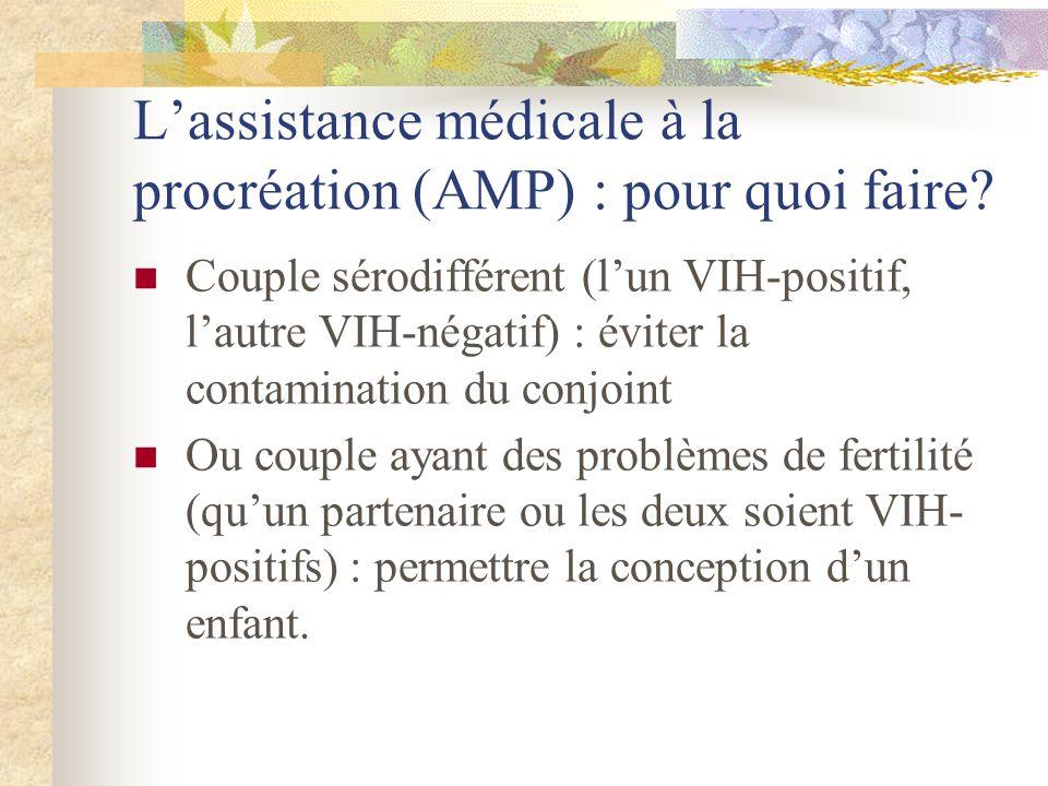 Lassistance médicale à la procréation (AMP) : pour quoi faire? Couple sérodifférent (lun VIH-positif, lautre VIH-négatif) : éviter la contamination du