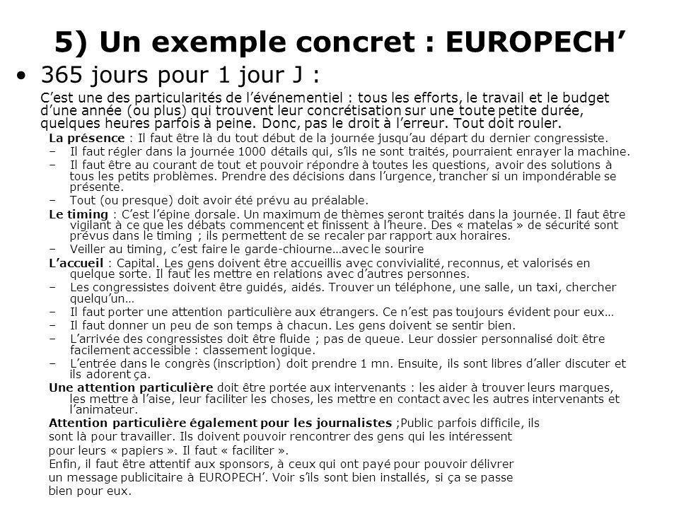 5) Un exemple concret : EUROPECH 365 jours pour 1 jour J : Cest une des particularités de lévénementiel : tous les efforts, le travail et le budget dune année (ou plus) qui trouvent leur concrétisation sur une toute petite durée, quelques heures parfois à peine.