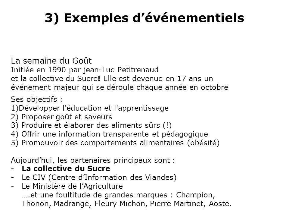 3) Exemples dévénementiels La semaine du Goût Initiée en 1990 par jean-Luc Petitrenaud et la collective du Sucre.
