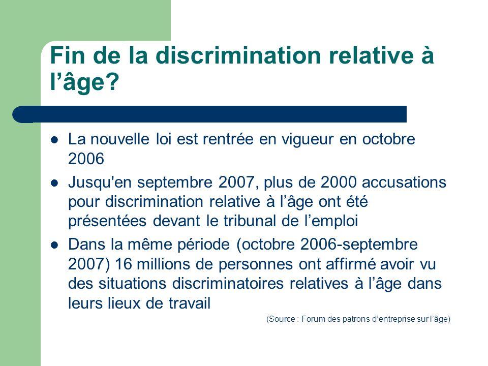 Fin de la discrimination relative à lâge? La nouvelle loi est rentrée en vigueur en octobre 2006 Jusqu'en septembre 2007, plus de 2000 accusations pou