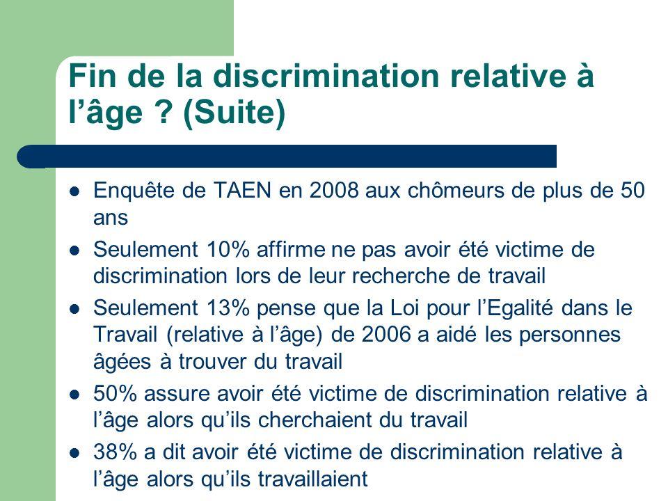 Fin de la discrimination relative à lâge ? (Suite) Enquête de TAEN en 2008 aux chômeurs de plus de 50 ans Seulement 10% affirme ne pas avoir été victi
