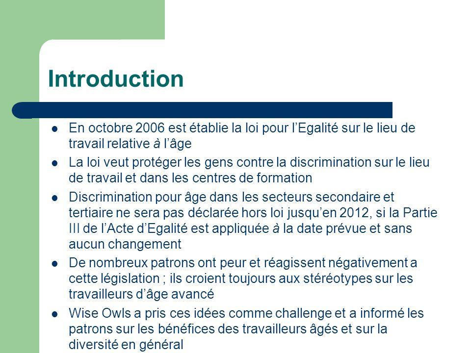 Introduction En octobre 2006 est établie la loi pour lEgalité sur le lieu de travail relative à lâge La loi veut protéger les gens contre la discrimin