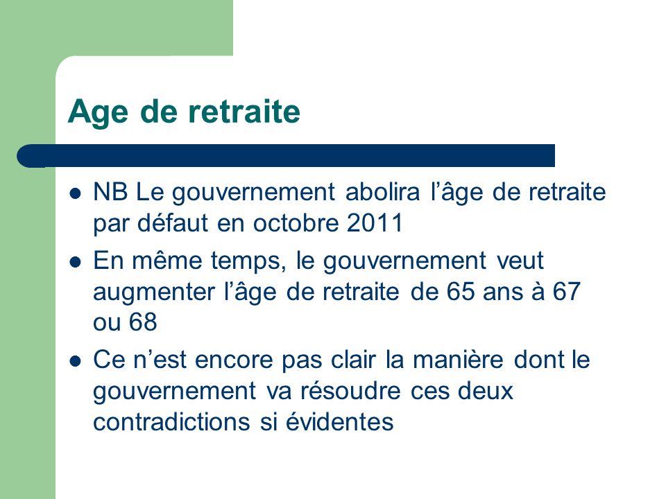 Age de retraite NB Le gouvernement abolira lâge de retraite par défaut en octobre 2011 En même temps, le gouvernement veut augmenter lâge de retraite de 65 ans à 67 ou 68 Ce nest encore pas clair la manière dont le gouvernement va résoudre ces deux contradictions si évidentes