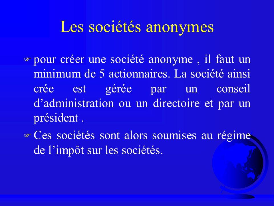 Les sociétés anonymes F pour créer une société anonyme, il faut un minimum de 5 actionnaires. La société ainsi crée est gérée par un conseil dadminist