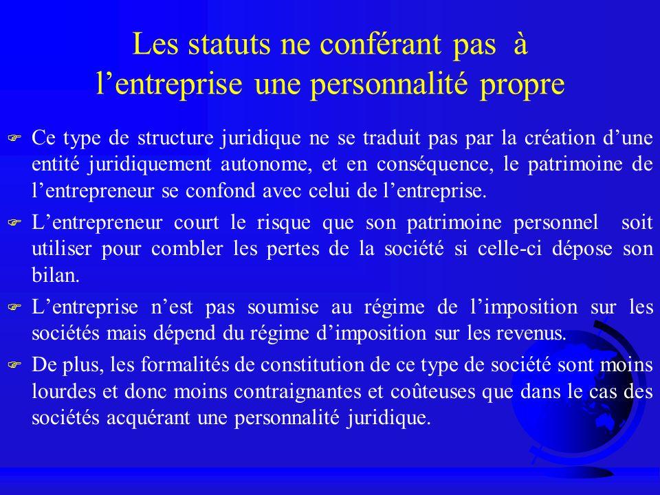 Les statuts ne conférant pas à lentreprise une personnalité propre F Ce type de structure juridique ne se traduit pas par la création dune entité juri