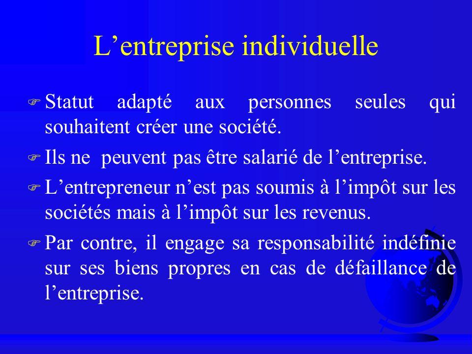 Lentreprise individuelle F Statut adapté aux personnes seules qui souhaitent créer une société. F Ils ne peuvent pas être salarié de lentreprise. F Le