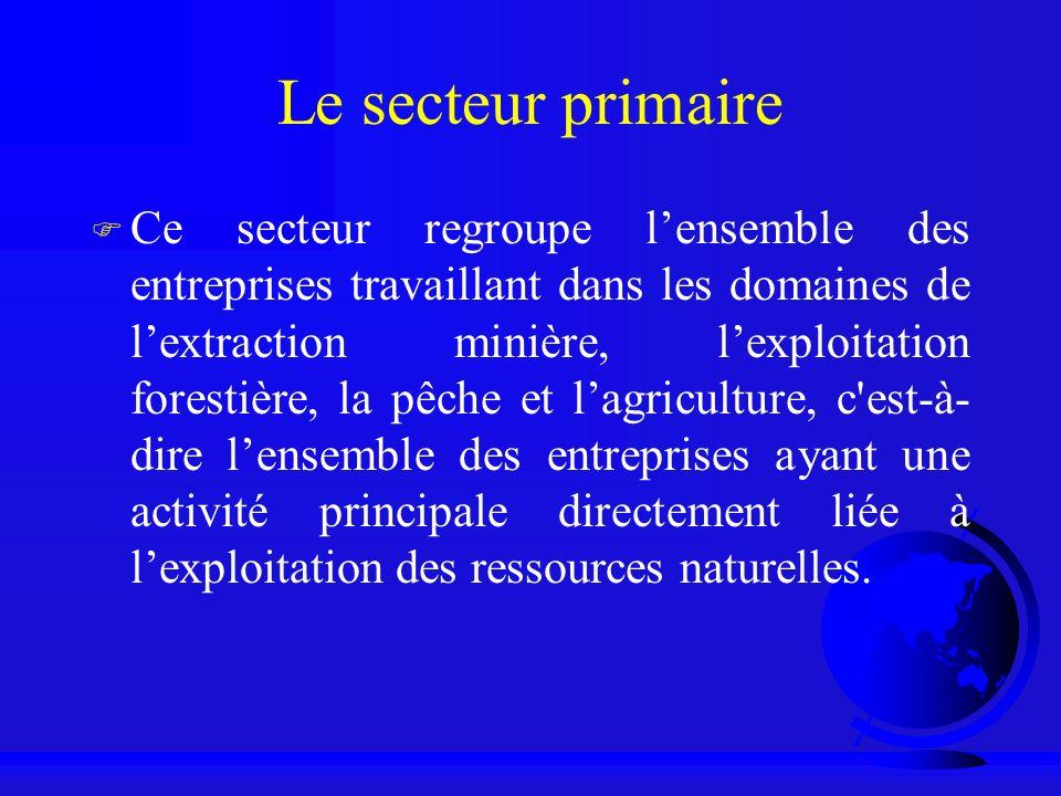 Le secteur primaire F Ce secteur regroupe lensemble des entreprises travaillant dans les domaines de lextraction minière, lexploitation forestière, la
