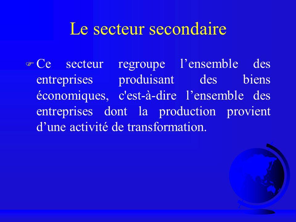 Le secteur secondaire F Ce secteur regroupe lensemble des entreprises produisant des biens économiques, c'est-à-dire lensemble des entreprises dont la