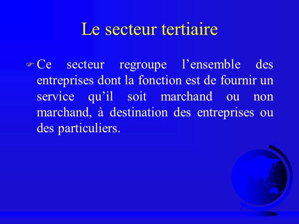 Le secteur tertiaire F Ce secteur regroupe lensemble des entreprises dont la fonction est de fournir un service quil soit marchand ou non marchand, à