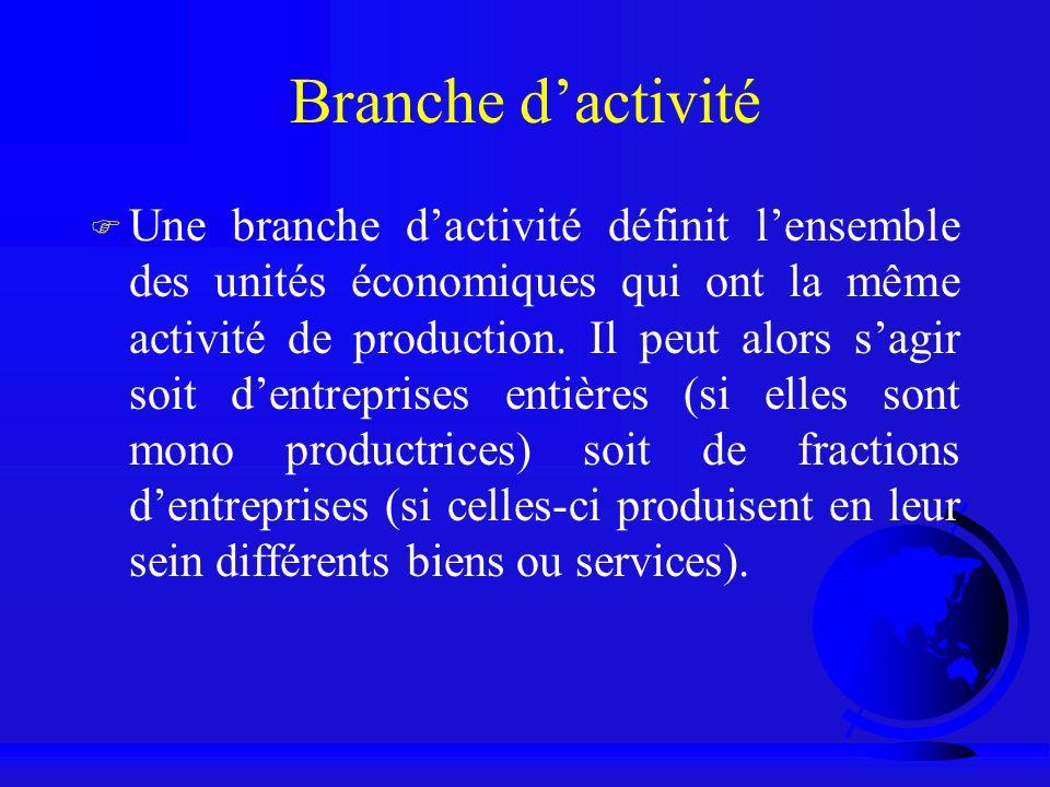 Branche dactivité F Une branche dactivité définit lensemble des unités économiques qui ont la même activité de production. Il peut alors sagir soit de