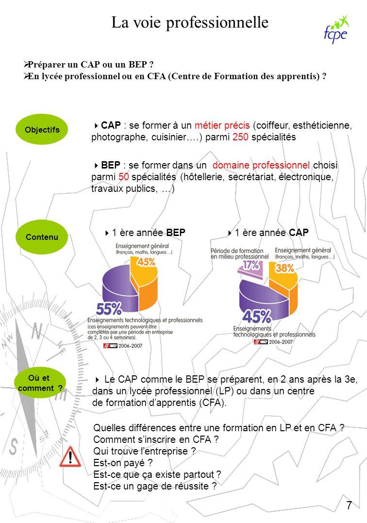 La voie professionnelle Préparer un CAP ou un BEP ? En lycée professionnel ou en CFA (Centre de Formation des apprentis) ? Objectifs Contenu Où et com