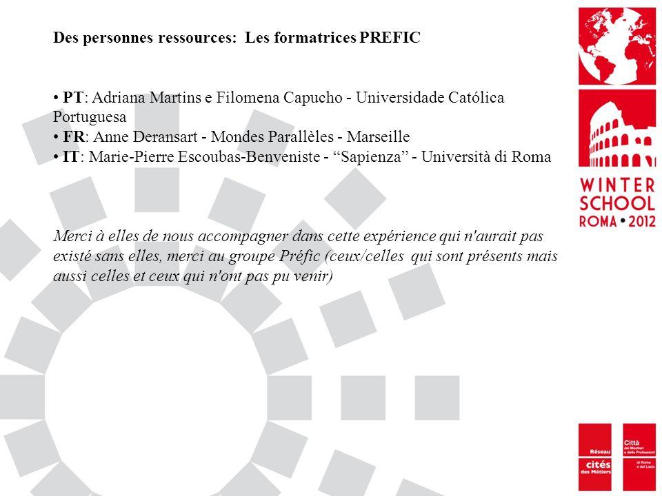 Des personnes ressources: Les formatrices PREFIC PT: Adriana Martins e Filomena Capucho - Universidade Católica Portuguesa FR: Anne Deransart - Mondes