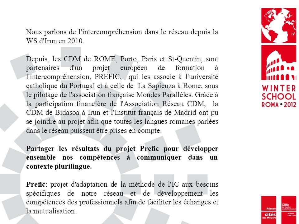 Nous parlons de l'intercompréhension dans le réseau depuis la WS d'Irun en 2010. Depuis, les CDM de ROME, Porto, Paris et St-Quentin, sont partenaires