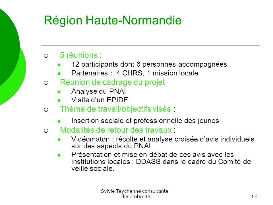 Sylvie Teychenné consultante - décembre 0913 Région Haute-Normandie 5 réunions : 12 participants dont 6 personnes accompagnées Partenaires : 4 CHRS, 1