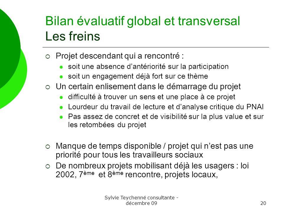 Sylvie Teychenné consultante - décembre 0920 Bilan évaluatif global et transversal Les freins Projet descendant qui a rencontré : soit une absence dan