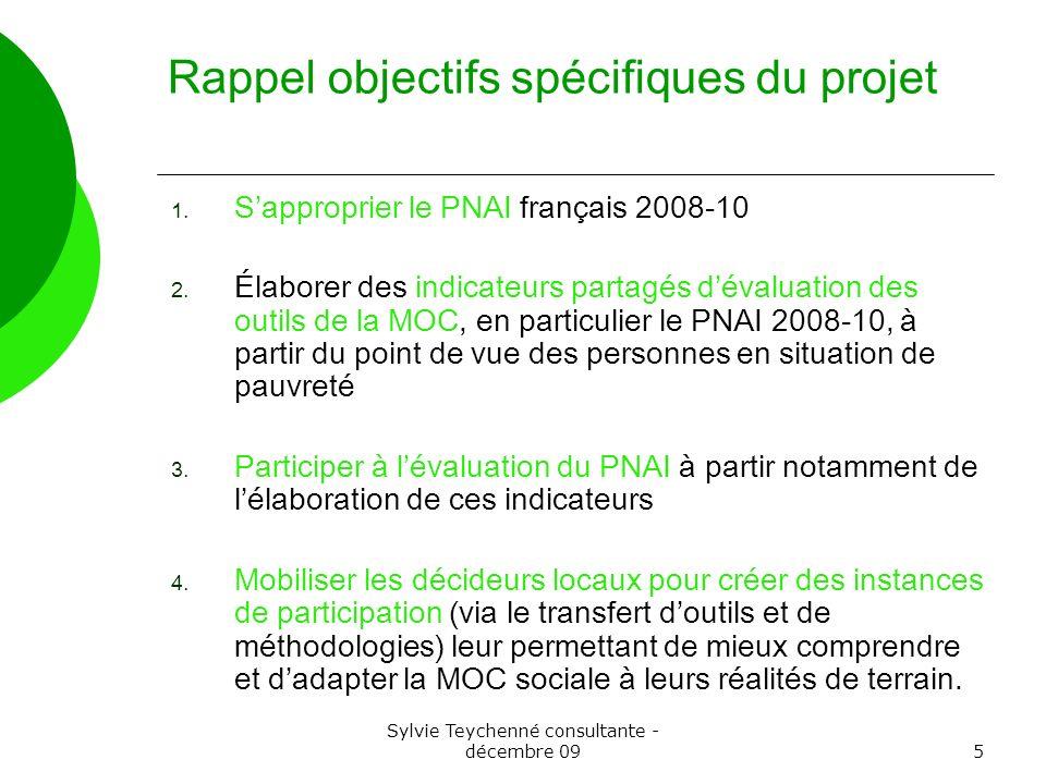 Sylvie Teychenné consultante - décembre 095 Rappel objectifs spécifiques du projet 1. Sapproprier le PNAI français 2008-10 2. Élaborer des indicateurs