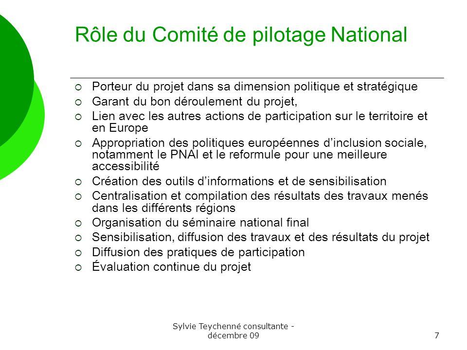 Sylvie Teychenné consultante - décembre 097 Rôle du Comité de pilotage National Porteur du projet dans sa dimension politique et stratégique Garant du
