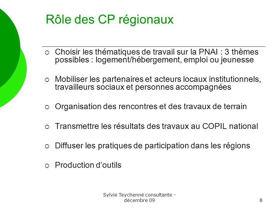 Sylvie Teychenné consultante - décembre 098 Rôle des CP régionaux Choisir les thématiques de travail sur la PNAI : 3 thèmes possibles : logement/héber