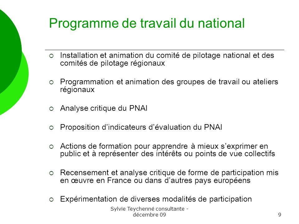 Sylvie Teychenné consultante - décembre 099 Programme de travail du national Installation et animation du comité de pilotage national et des comités d