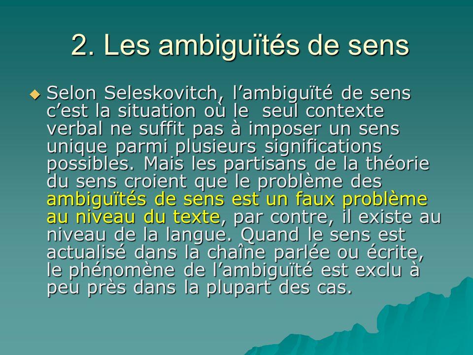 2. Les ambiguïtés de sens 2. Les ambiguïtés de sens Selon Seleskovitch, lambiguïté de sens cest la situation où le seul contexte verbal ne suffit pas