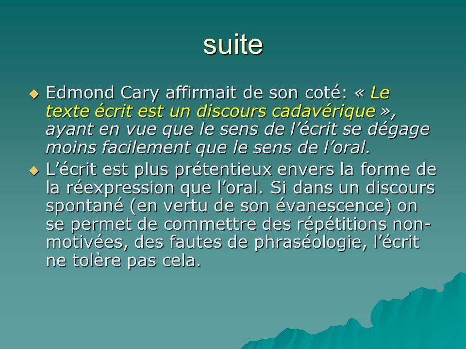 suite Edmond Cary affirmait de son coté: « Le texte écrit est un discours cadavérique », ayant en vue que le sens de lécrit se dégage moins facilement