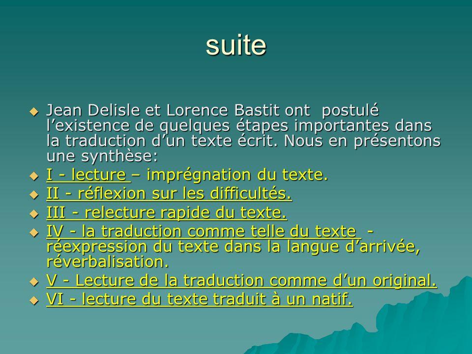 suite Jean Delisle et Lorence Bastit ont postulé lexistence de quelques étapes importantes dans la traduction dun texte écrit. Nous en présentons une
