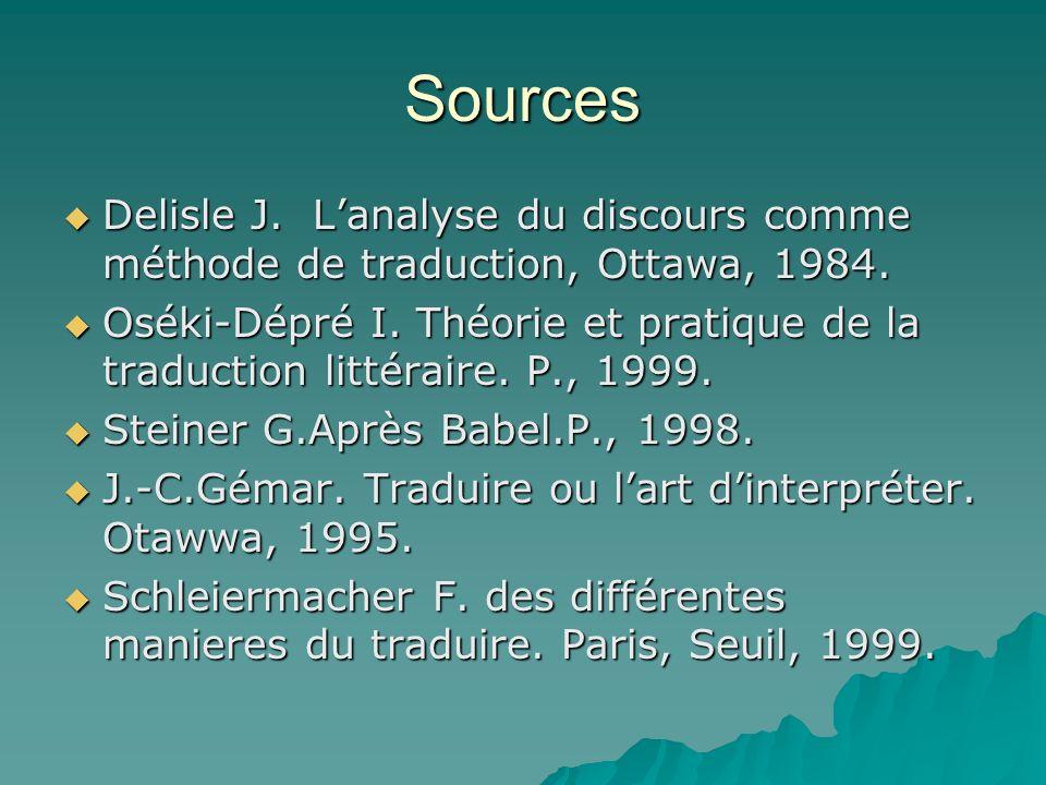 Sources Delisle J. Lanalyse du discours comme méthode de traduction, Ottawa, 1984. Delisle J. Lanalyse du discours comme méthode de traduction, Ottawa