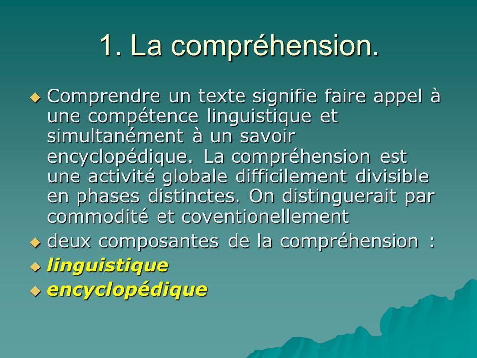1. La compréhension. Comprendre un texte signifie faire appel à une compétence linguistique et simultanément à un savoir encyclopédique. La compréhens