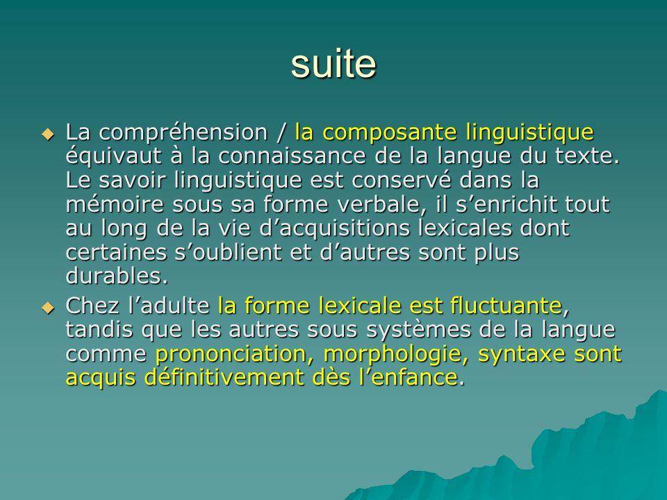 suite La compréhension / la composante linguistique équivaut à la connaissance de la langue du texte. Le savoir linguistique est conservé dans la mémo