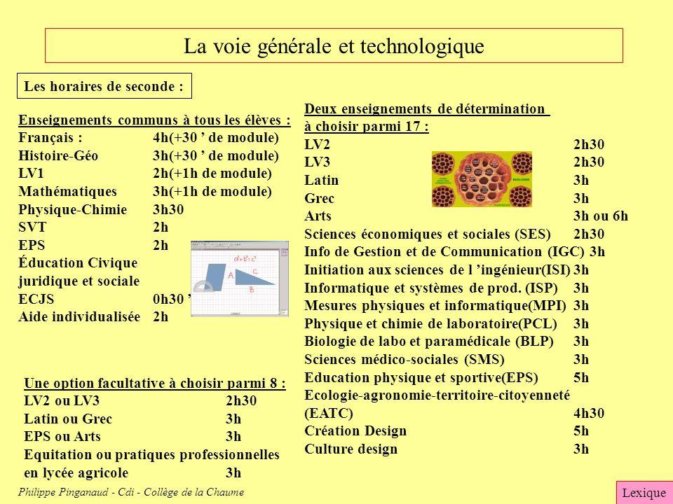 La voie générale et technologique Les horaires de seconde : Enseignements communs à tous les élèves : Français :4h(+30 de module) Histoire-Géo3h(+30 d