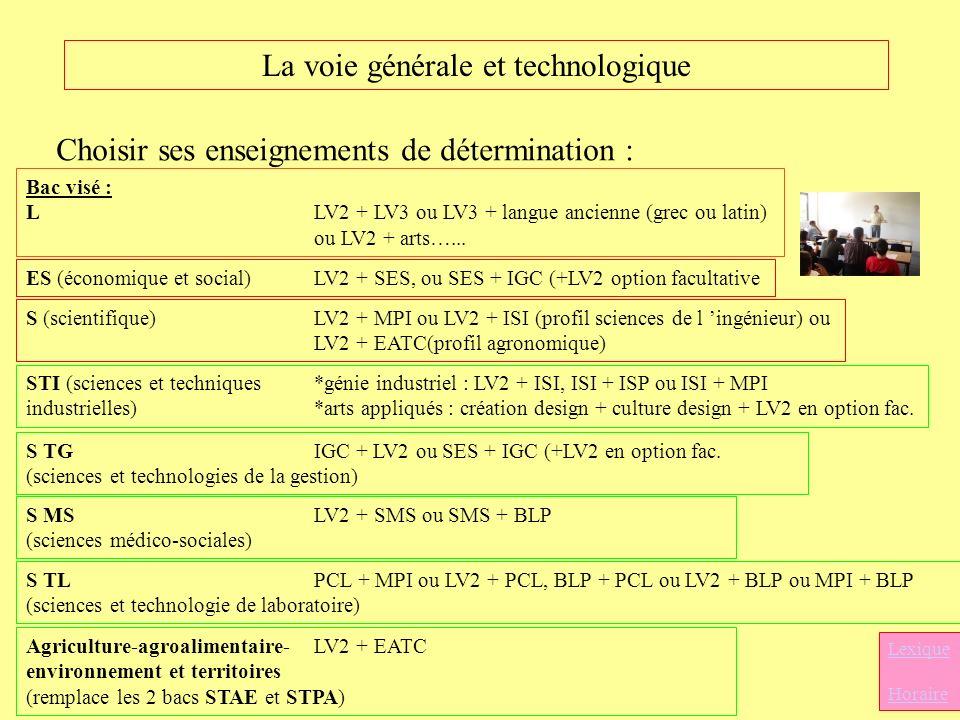 La voie générale et technologique Choisir ses enseignements de détermination : Bac visé : LLV2 + LV3 ou LV3 + langue ancienne (grec ou latin) ou LV2 +