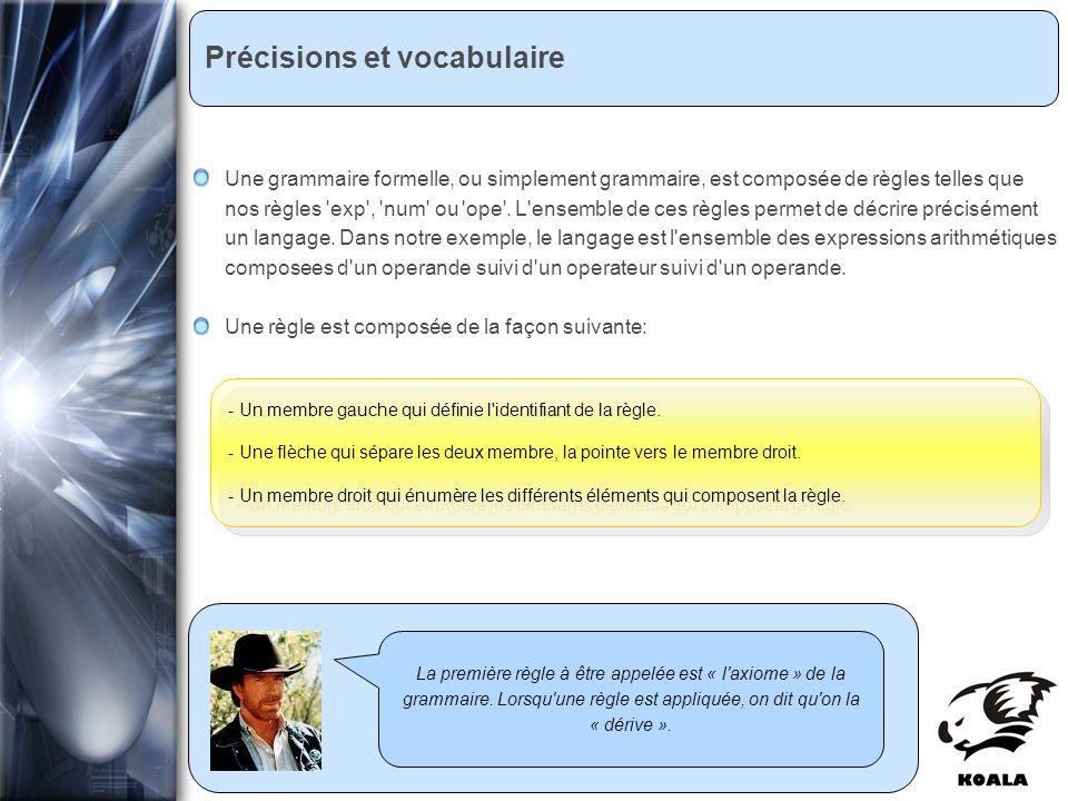 Réunion de service informatique Fatih Bellachia 23 janvier 2007 Précisions et vocabulaire La première règle à être appelée est « l axiome » de la grammaire.
