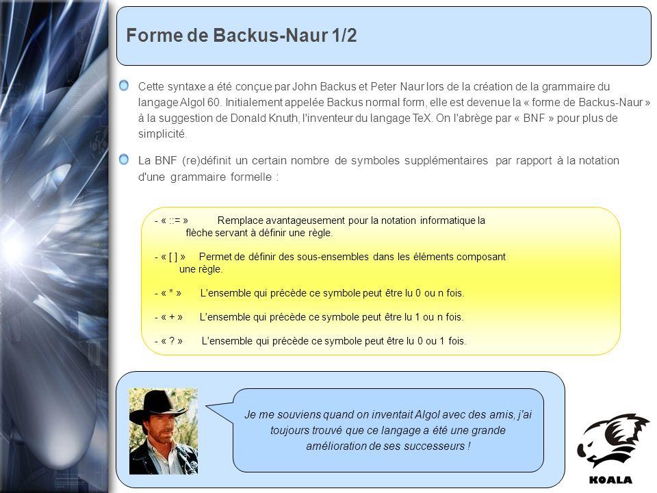 Réunion de service informatique Fatih Bellachia 23 janvier 2007 Forme de Backus-Naur 1/2 Je me souviens quand on inventait Algol avec des amis, j ai toujours trouvé que ce langage a été une grande amélioration de ses successeurs .