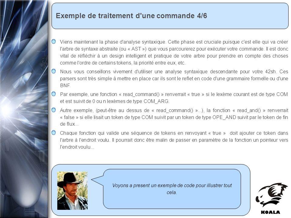 Réunion de service informatique Fatih Bellachia 23 janvier 2007 Exemple de traitement d'une commande 4/6 Voyons a present un exemple de code pour illu