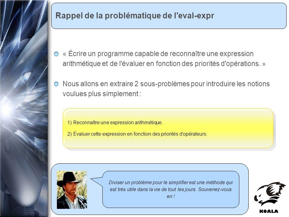 Réunion de service informatique Fatih Bellachia 23 janvier 2007 Rappel de la problématique de l'eval-expr Diviser un problème pour le simplifier est u