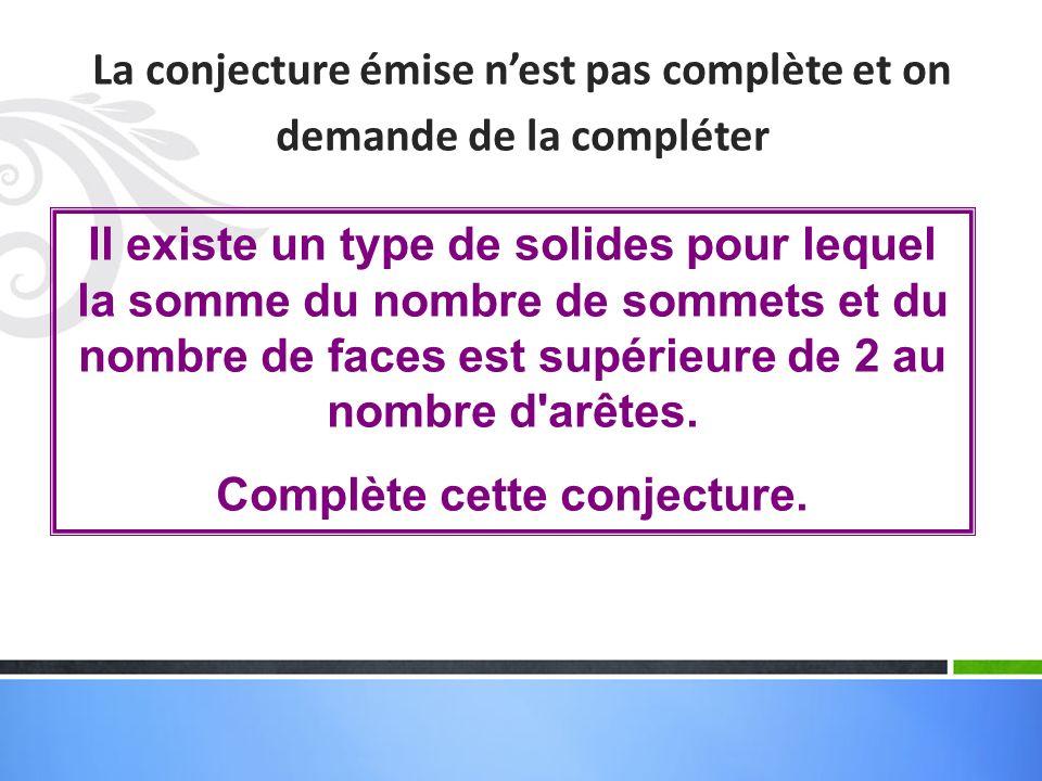 La conjecture émise nest pas complète et on demande de la compléter Il existe un type de solides pour lequel la somme du nombre de sommets et du nombre de faces est supérieure de 2 au nombre d arêtes.
