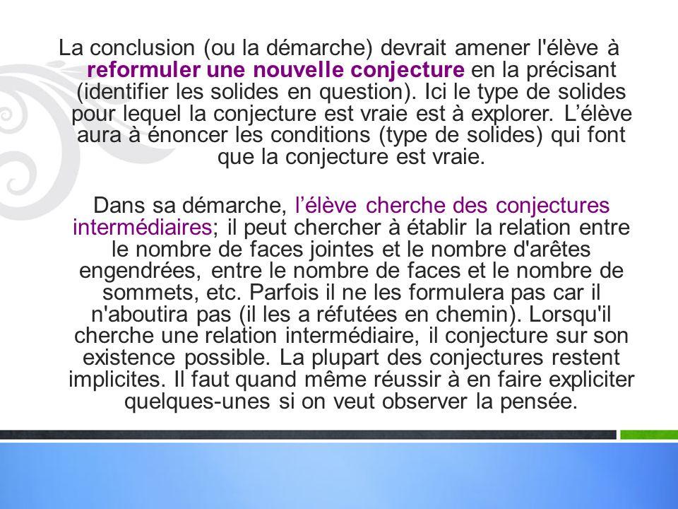 La conclusion (ou la démarche) devrait amener l élève à reformuler une nouvelle conjecture en la précisant (identifier les solides en question).