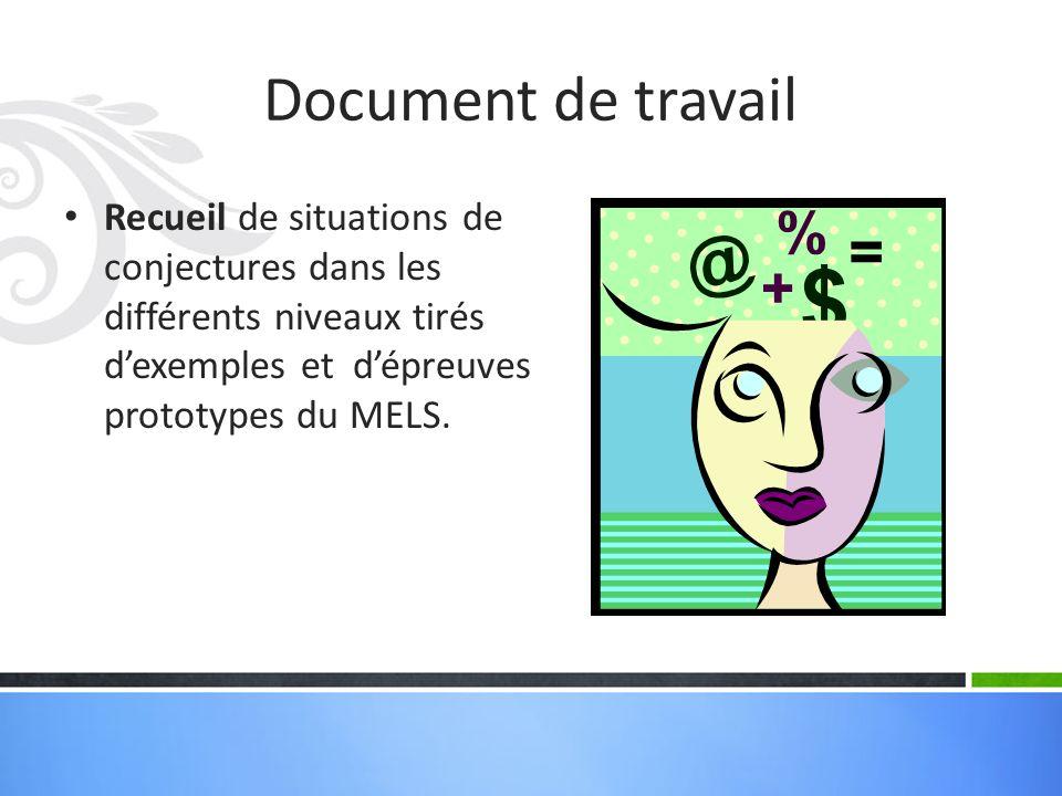 Document de travail Recueil de situations de conjectures dans les différents niveaux tirés dexemples et dépreuves prototypes du MELS.