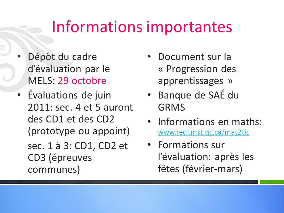 Informations importantes Dépôt du cadre dévaluation par le MELS: 29 octobre Évaluations de juin 2011: sec.