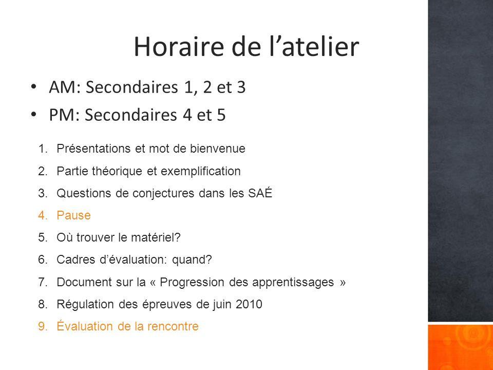 Horaire de latelier AM: Secondaires 1, 2 et 3 PM: Secondaires 4 et 5 1.Présentations et mot de bienvenue 2.Partie théorique et exemplification 3.Questions de conjectures dans les SAÉ 4.Pause 5.Où trouver le matériel.