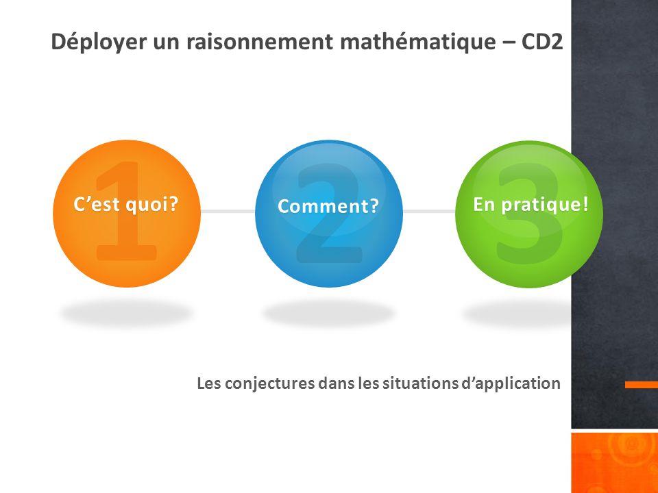 Déployer un raisonnement mathématique – CD2 Les conjectures dans les situations dapplication 1 Cest quoi.