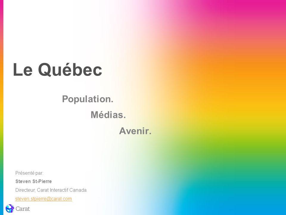 Le Québec Population. Médias. Avenir. Présenté par: Steven St-Pierre Directeur, Carat Interactif Canada steven.stpierre@carat.com