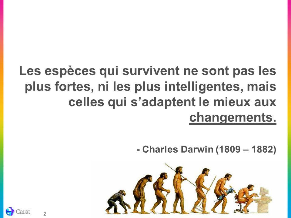 2 Les espèces qui survivent ne sont pas les plus fortes, ni les plus intelligentes, mais celles qui sadaptent le mieux aux changements. - Charles Darw