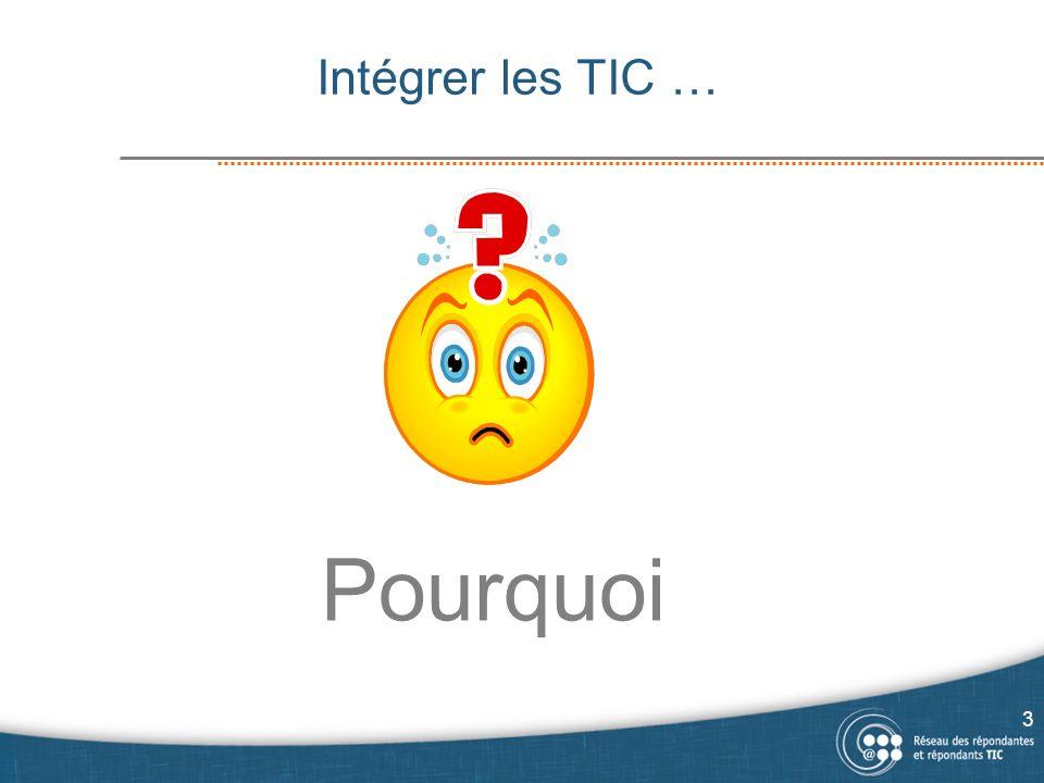 Pourquoi intégrer les TIC à votre programme.Pour suivre le courant, être « in ».